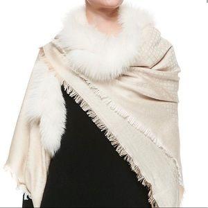 Gucci diamanté fur shawl in ivory